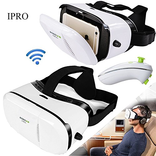 "IPRO Google Cardboard BOBOVR Z3 3D Virtual Reality Movie Video Glasses 4-6"" Smartphone Immersive Games Headset Helmet VR Box with Wireless Bluetooth Mouse Gamepad for IOS iphone&Android Samsung,lg"