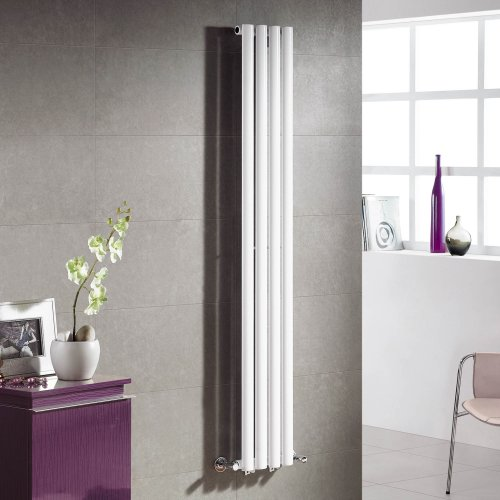 Chicago White Single Panel Vertical Radiator with 4 col