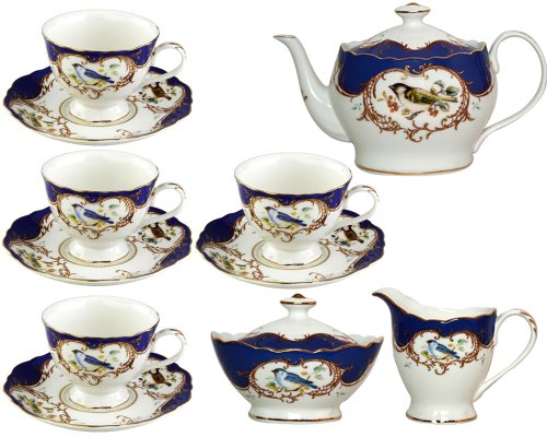 Gracie China 11-Piece Fine Porcelain Tea Set, Sweet Finch With Royal Blue Border