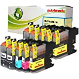 ink4work Set of 10 Pack LC103 LC-103 High Yield Compatible Ink Set & Wristband for Brother MFC-J285DW, MFC-J4310DW, MFC-J4410DW, MFC-J450DW, MFC-J4510DW, MFC-J4610DW, MFC-J470DW, MFC-J4710DW, MFC-J475DW, MFC-J870DW, MFC-J875DW