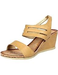 Steppings Women's White Faux Leather Sandal, EU 36.5