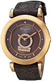 "Salvatore Ferragamo Women's FQ4080013 ""Minuetto"" Gold Ion-Plated Diamond-Accented Watch with Leather Band"
