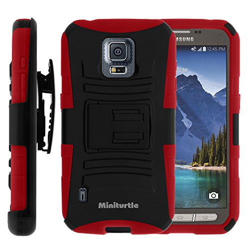 Miniturtle, 2 In 1 High Impact Protective Hybrid Dual Layer Armor Phone Case Cover With Built In Kickstand, Swivelling Holster Belt Clip, And Clear Screen Protector Film For Android Smartphone Samsung Galaxy S5 V Active Sm-G870 /At&T (Black / Red)