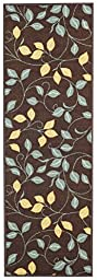 Custom Size Runner Chocolate Brown Floral Non-Slip (Non-Skid) Rubber Back Stair Hallway Rug by Feet 22 Inch Wide Select Your Length 22in X 5ft