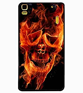 ColourCraft Flaming Skull Design Back Case Cover for LENOVO K3 NOTE