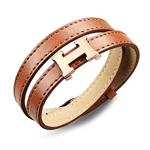 fashion-ahead-men-women-stainless-steel-2-layers-leather-h-bracelet-belt-clasp-black-brown-brown