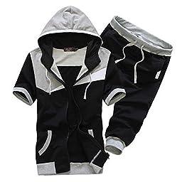 Magiftbox Men\'s Hoodies Zipper Up Short Sleeve Sweatsuits Jogging Tracksuits