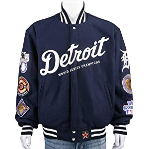 Detroit Tigers Wool Reversible Jacket (Large) by JH Design Group