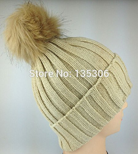 Women's Candy Beanie Knitted Caps Crochet Faux Raccoon Rabbit Fur Pompons Hat Curling Ear Protect Women Beanies