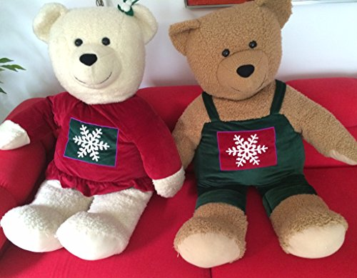 Set of Two Hallmark Stuffed Bears Brother and Sister Holding Hands Christmas Snowflake - 1