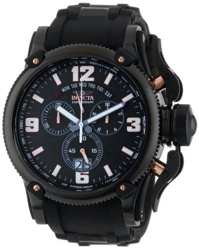 Invicta Men's 12436 Russian Diver Chronograph Black Dial Black Polyurethane Watch