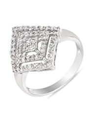 Mahi Rhodium Plated Ultra Modish Ring With CZ Stones For Women FR1100066R