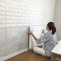 Art3d 6 Sq.Ft Peel and Stick 3D Wall Panels Brick Wallpaper / Wall Decal / Wall Accent / TV Walls (White)