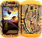 Straight Talk/Net 10 Samsung Galaxy DISCOVER CENTURA R740 S730G S738C Camo Mossy Real Deer on Orange Gel Cover Case