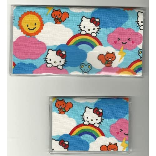 Checkbook Cover Debit Card Holder Set Sanrio Hello Kitty Happy Rainbow Smiles