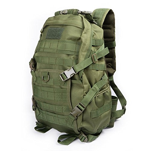 Hikingworld 40L Military Army Patrol MOLLE Assault Pack,strike Pack,tactical Combat Rucksack Backpack Bag,also for Travelling/hiking/camping/cycling. (Green)