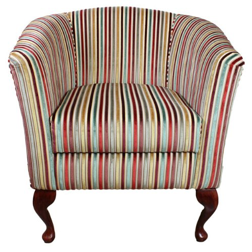 Handmade Tub Chair in a Riga Striped Jaquard Velvet Chenille