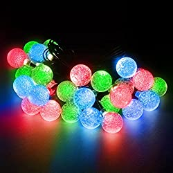 LED Concepts® Solar LED Crystal Ball Style String Lights -19.7 ft with 30 LED Crystal Ball Lights - 2 Mode Setting -Lighting for Gazebos, Patio Lighting, and Parties (Red, Green, Blue)
