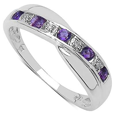The Diamond Ring Collection: 9ct White Gold Amethyst & Diamond Channel Set Crossover Eternity Ring