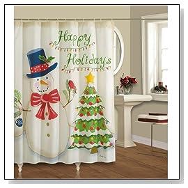 Happy Holidays Christmas Fabric Shower Curtain