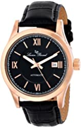 "Lucien Piccard Men's LP-12392-RG-01 ""Meuse"" Stainless Steel Automatic Watch with Black Leather Band"