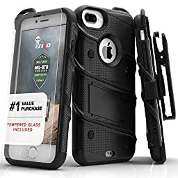 Zizo [Bolt Series] iPhone 7 Plus Case w/ [iPhone 7 Plus Screen Protector ] Kickstand [Military Grade Drop Tested] Holster Clip - iPhone 7 Plus