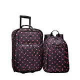 US Traveler Printed 2-Piece Expandable Rolling Upright & Backpack Luggage Set