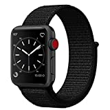 Smart Watch Band Dark Black Sport Loop, Uitee Newest Woven Nylon Band for Apple Watch Series 38mm 3/2/1, Comfortably Light With Fabric-Like Feel Wrist Strap Replacement with Classic Buckle