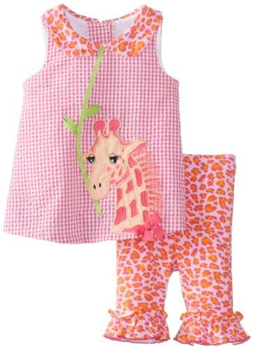 Bonnie Baby Baby-Girls Newborn Seersucker Top With Giraffe To Knit Bottom, Fuchsia, 3-6 Months front-11171
