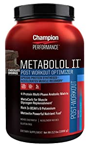 Champion Nutrition Metabolol II Met 2 High-Energy Meal Supplement, Chocolate Brownie, 2.2 lbs. Plastic Jar
