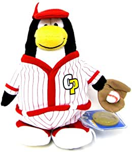 Disney Club Penguin 6.5 Inch Series 7 Plush Figure Baseball Player Includes Coin with Code!