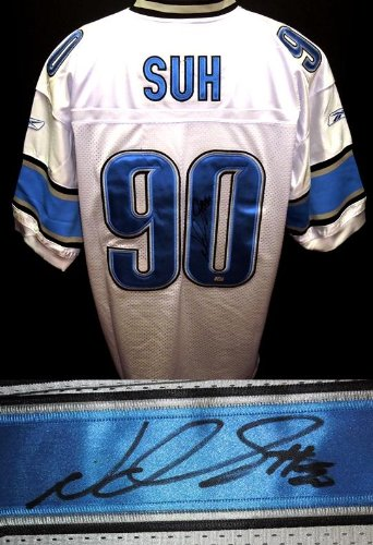 Ndamukong Suh Autographed / Hand Signed Detroit Lions Authentic Reebok Jersey - with Mounted Memories Authenticity