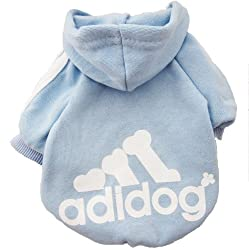 Demarkt Fashion Sport Dog Cat Puppy Fleece Hoodie Costume Clothes Pet Apparel Superdog Dress Up Pet Supplies - Blue Size Small