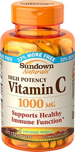 Sundown Naturals Vitamin C 1000 mg Ascorbic Acid, 133 Caplets (Pack of 3) (Sundown Vitamin C 1000 compare prices)