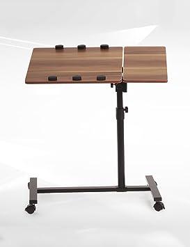 ZGW Mesa plegable Escritorio creativo del ordenador portátil de la cabecera de la personalidad Puede mover tablas giratorias Tabla plegable blanco y negro ( Color : Negro , Tamaño : L*W*H: 48*40*(59-93)cm )