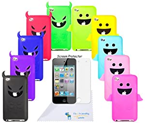 The Friendly Swede (TM) Bundle of 10 Flexible Soft Silicone Angel/Devil Skins for Apple iPod Touch 4 + Clear Screen Protector + Microfiber Cleaning Cloth in Retail Packaging