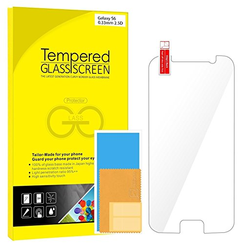 S6 Protection écran, Rankie Protection en Verre trempé écran protecteur Film ultra résistant Glass Screen Protector pour Samsung Galaxy S6 - 0855