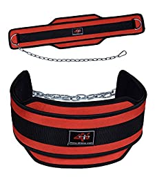 4Fit Weight Lifting Belt, Neoprene Belt Exercise Belt Heavy Chain-Red