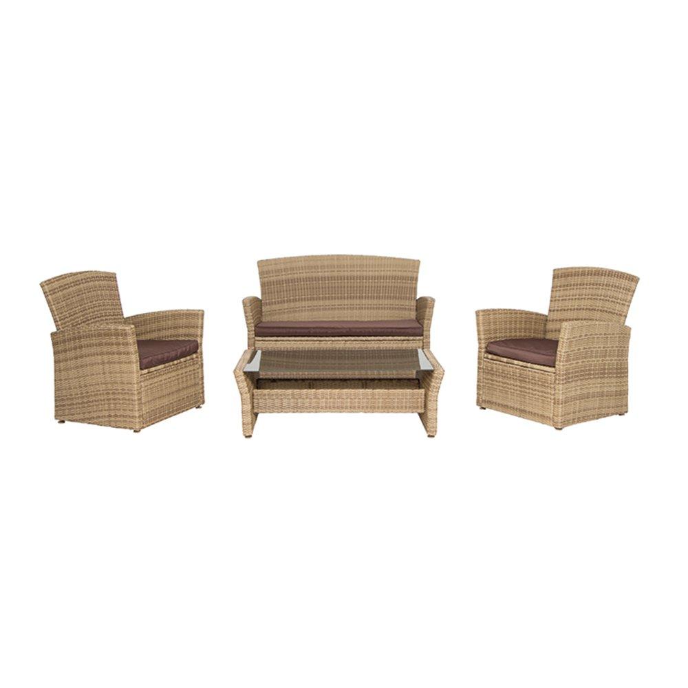 Siena Garden 956190 Lounge Set Meran, bestehend aus 2 x Sessel 74 x 73 x 82 cm, 1 x 2 sitzige Bank 128 x 73 x 82 cm, 1 x Tisch 110 x 60 x 36 cm, Gardino Geflecht sand