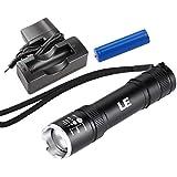LE Lampe torche très lumineuse CREE LED 5 Watt rechargeable, Lampe-torche à foyer réglable, 200lm, Le chargeur et les piles est inclus