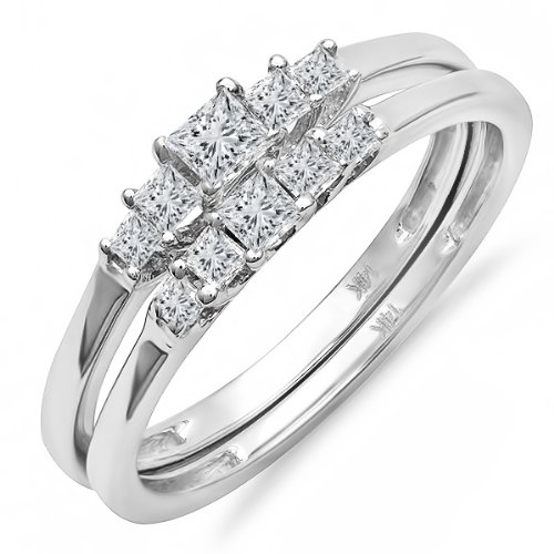 0.55 Carat (ctw) 14k White Gold Princess Diamond Ladies 5 Stone Bridal Ring Engagement Matching Band Set 1/2 CT...