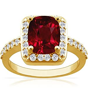 18K Yellow Gold Cushion Cut Ruby Ring With Sidestones (GIA Certificate)