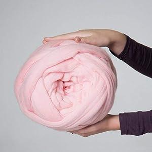 Giant Wool Yarn Chunky Merino Arm Knitting Super Soft Wool Yarn Bulky Wool Roving Pink 4.4 lbs (Color: Pink, Tamaño: 4.4 lbs)