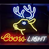 HOZER Professional 17*14 COORSLIGHTdeer Design Decorate Neon Light Sign Store Display Beer Bar Sign Real Neon Signboard for Restaurant Convenience Store Bar Billiards Shops