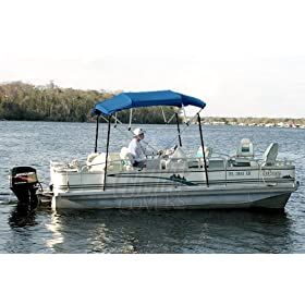 """4 BOW MARINE BLUE BIMINI BOAT COVER TOP WITH ZIPPERED BOOT FITS 79""""-84"""" WIDTH BEAM BOAT COVERS"""