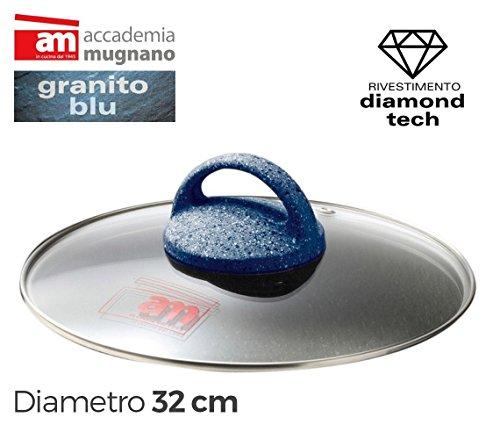 Coperchio in vetro 32cm Accademia Mugnano linea Granito Blu Diamond Tech. MWS