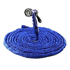 Honeyall Flexible Expandable Water Hose for Garden Watering car cleaning with 7-way Spray Nozzle(Blue)
