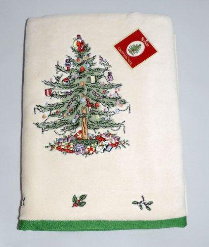 Spode Christmas Tree Bath Towels: Bath Spode Towel, Hand Spode Towel, Fingertip Spode Towel, Wash Spode Towel.