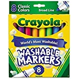Crayola Washable Markers, Broad Point, Classic Colors, 8/Pack (58-7808) (Pack of 2)
