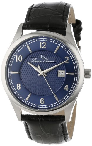 Lucien Piccard Men's 11581-03 Weisshorn Dark Blue Textured Dial Black Leather Watch